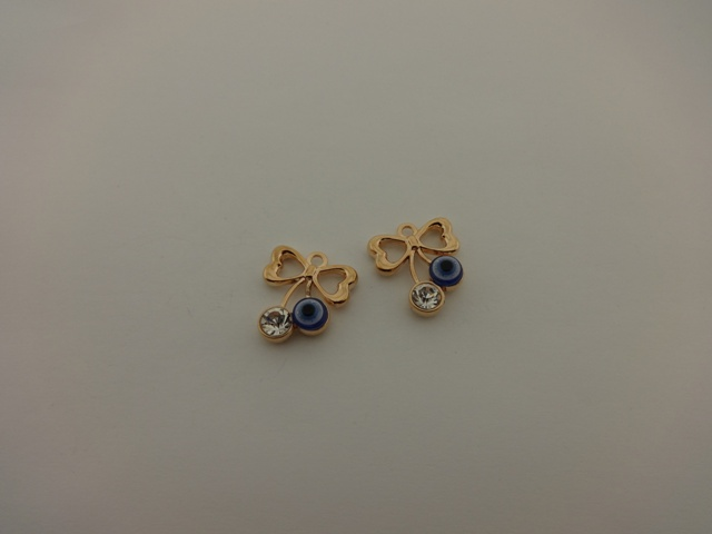 PINK GOLD PLATED BOW WITH EYE AND STRASS 21x24mm