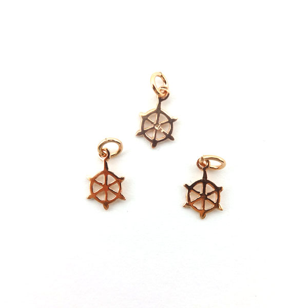 925° SILVER PINK GOLD PLATED SHIP WHEEL 9mm