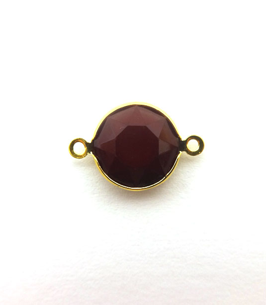 ROUND BURGUNDY COLOR WITH GOLD PLATED FRAME 20x12mm
