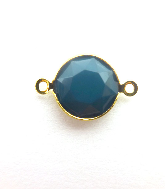 ROUND DARK PETROL COLOR WITH GOLD PLATED FRAME 20x12mm