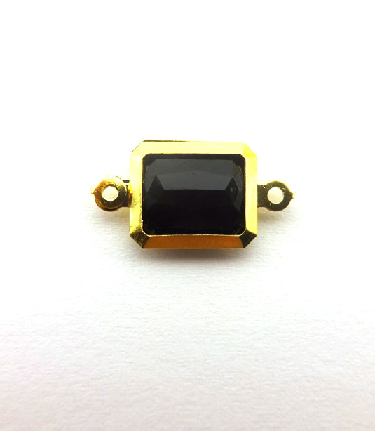 RECTANGLE BLACK COLOR WITH GOLD PLATED FRAME 19x10mm