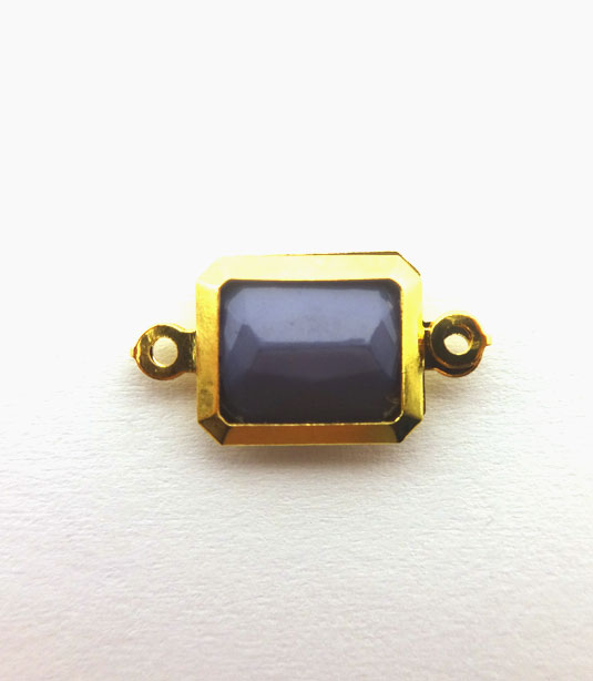 RECTANGLE LILAC COLOR WITH GOLD PLATED FRAME 19x10mm