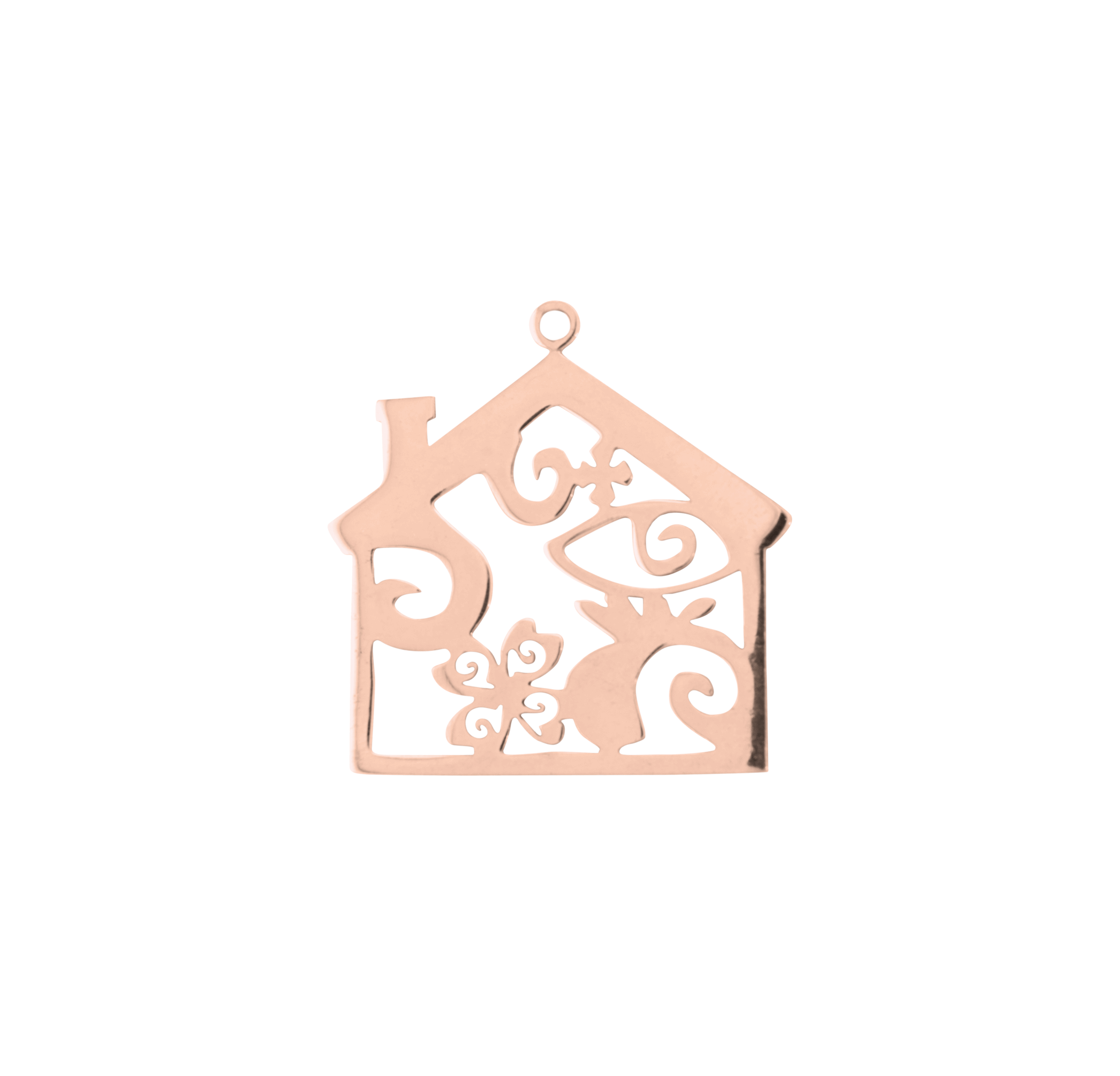 HOUSE PINK GOLD PLATED 45mm (BRASS)