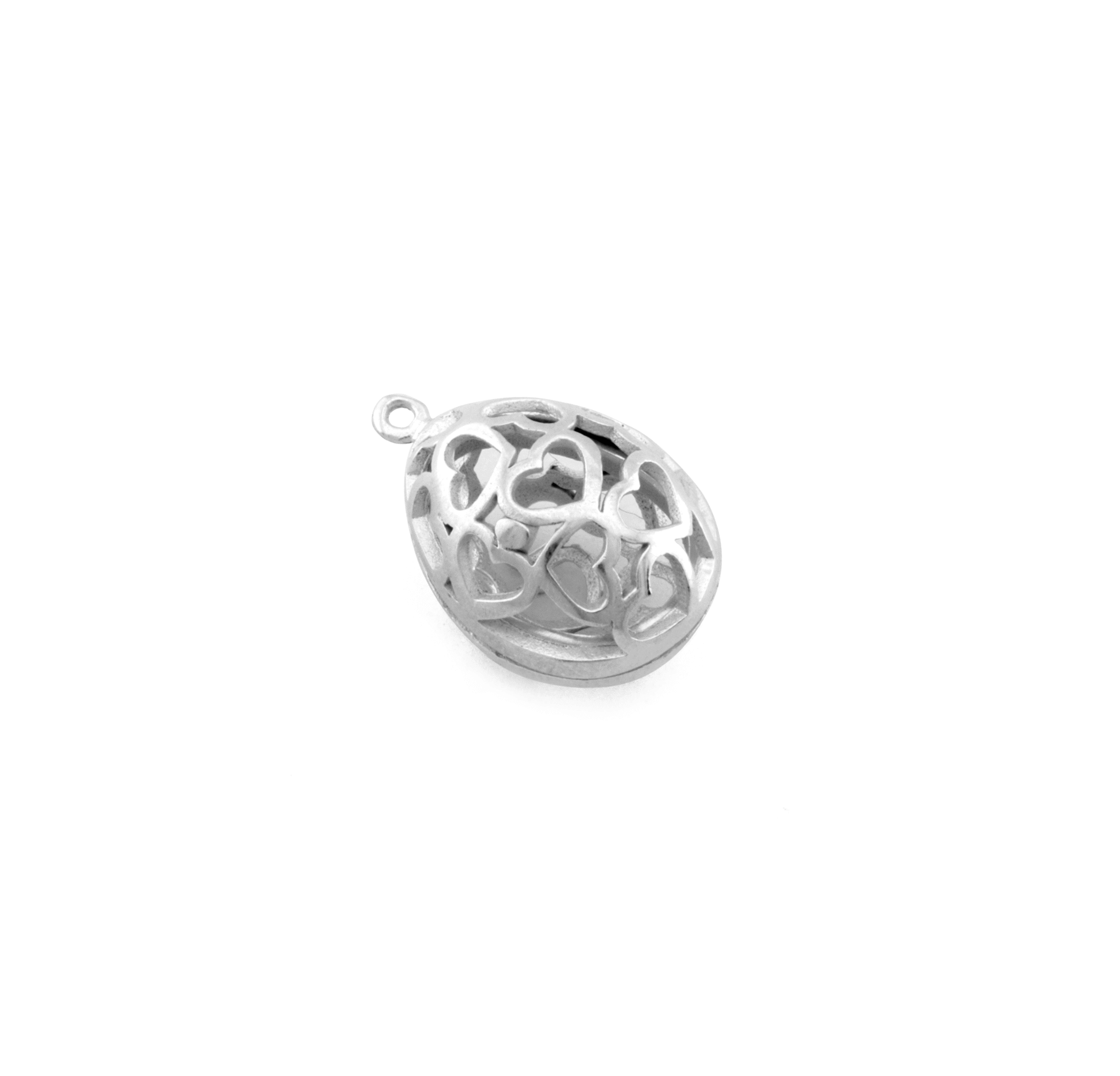 SILVER PLATED EGG 22x15mm ( BRASS )