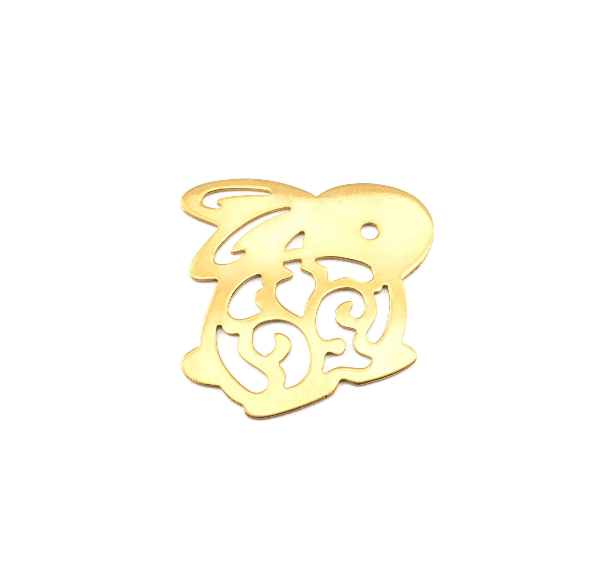 RABBIT GOLD PLATED 50x40mm ( BRASS )
